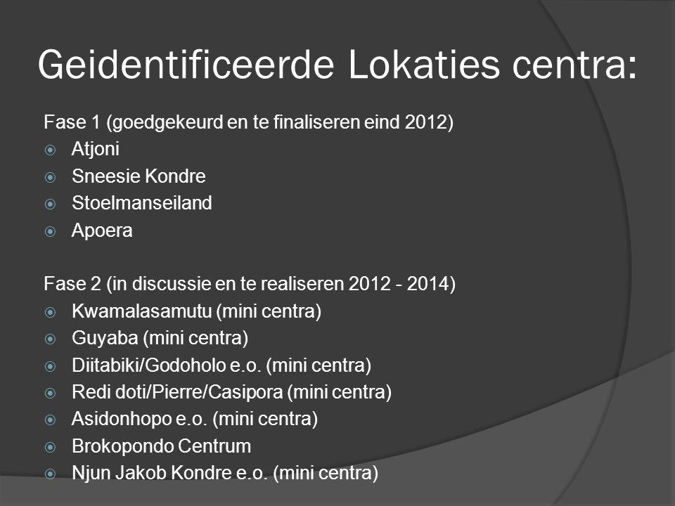 Geidentificeerde Lokaties centra: Fase 1 (goedgekeurd en te finaliseren eind 2012)  Atjoni  Sneesie Kondre  Stoelmanseiland  Apoera Fase 2 (in dis