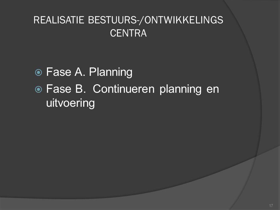 REALISATIE BESTUURS-/ONTWIKKELINGS CENTRA  Fase A. Planning  Fase B. Continueren planning en uitvoering 17