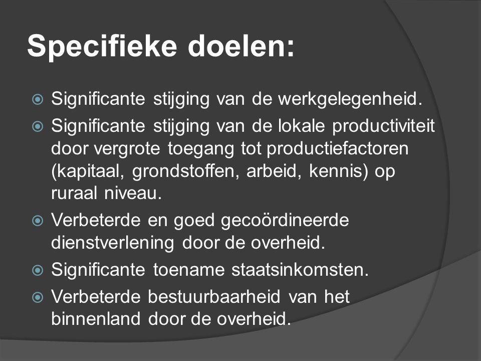 Specifieke doelen:  Significante stijging van de werkgelegenheid.  Significante stijging van de lokale productiviteit door vergrote toegang tot prod