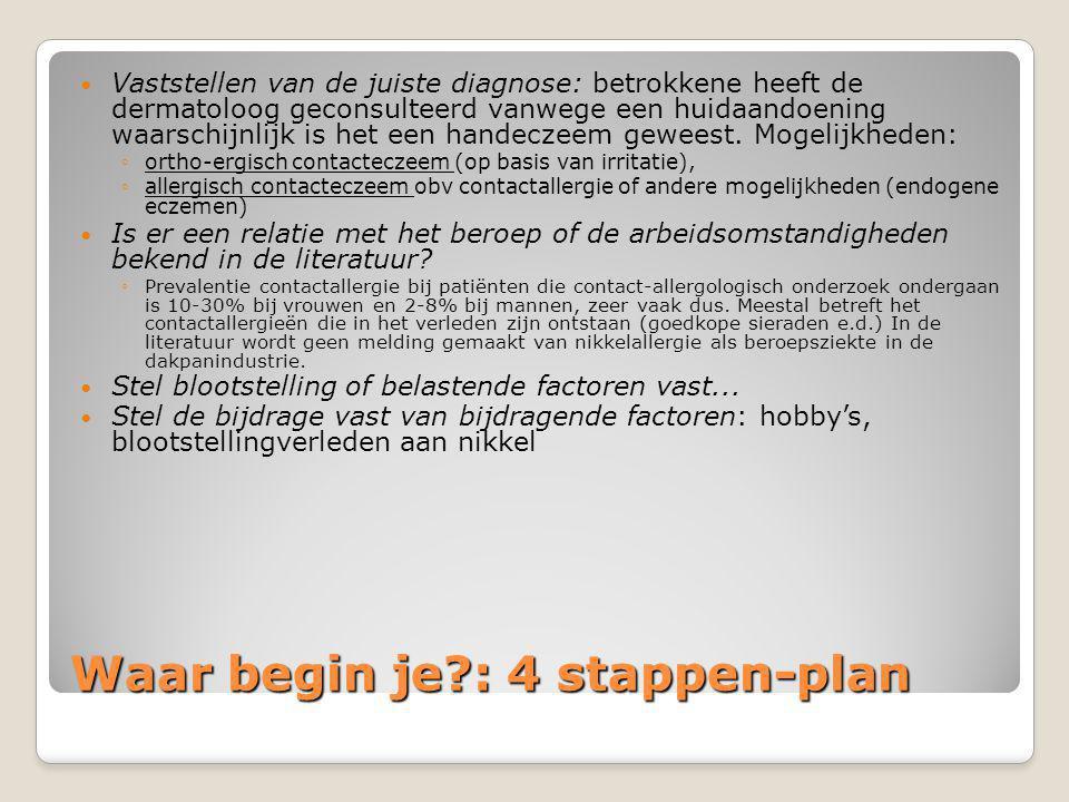 Waar begin je?: 4 stappen-plan  Vaststellen van de juiste diagnose: betrokkene heeft de dermatoloog geconsulteerd vanwege een huidaandoening waarschi