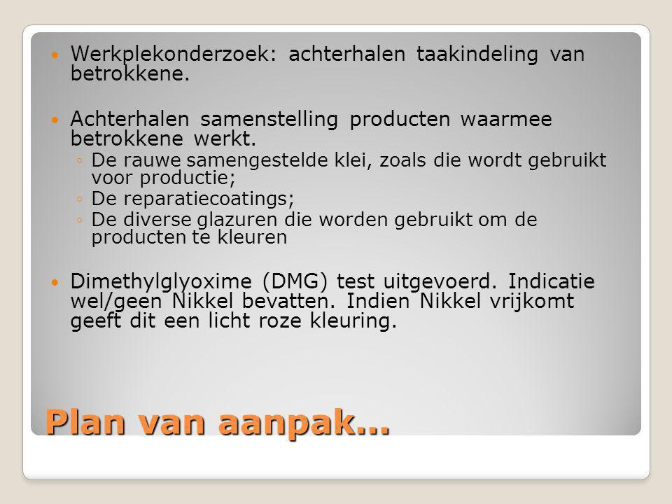 Plan van aanpak...  Werkplekonderzoek: achterhalen taakindeling van betrokkene.  Achterhalen samenstelling producten waarmee betrokkene werkt. ◦De r