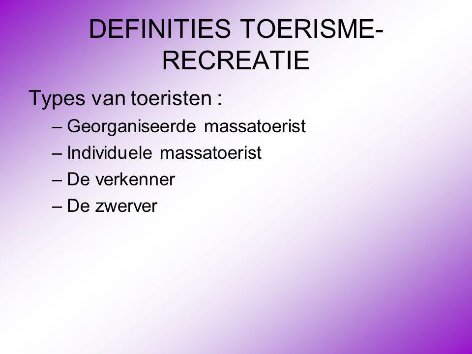 DEFINITIES TOERISME- RECREATIE Types van toeristen : –Georganiseerde massatoerist –Individuele massatoerist –De verkenner –De zwerver