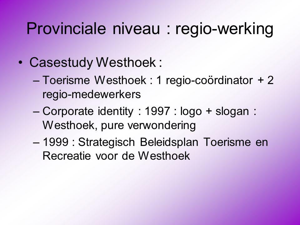 Provinciale niveau : regio-werking •Casestudy Westhoek : –Toerisme Westhoek : 1 regio-coördinator + 2 regio-medewerkers –Corporate identity : 1997 : l