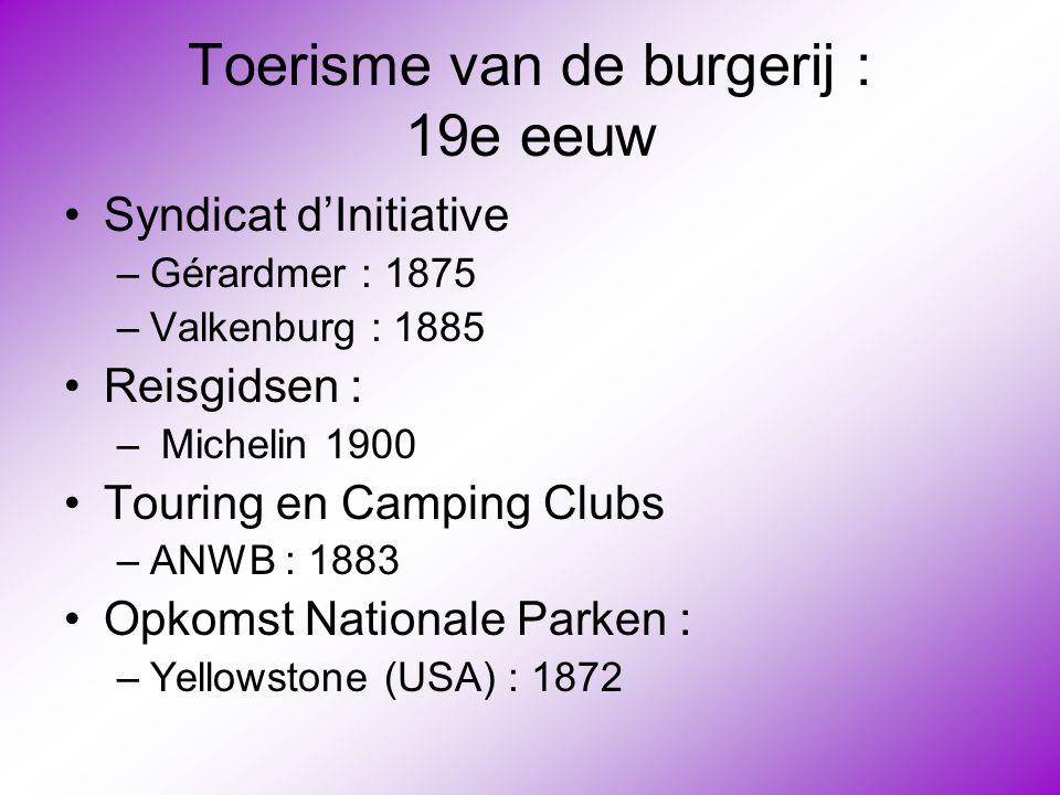 Toerisme van de burgerij : 19e eeuw •Syndicat d'Initiative –Gérardmer : 1875 –Valkenburg : 1885 •Reisgidsen : – Michelin 1900 •Touring en Camping Club
