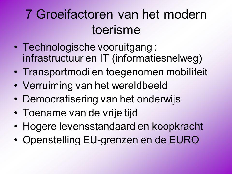 7 Groeifactoren van het modern toerisme •Technologische vooruitgang : infrastructuur en IT (informatiesnelweg) •Transportmodi en toegenomen mobiliteit