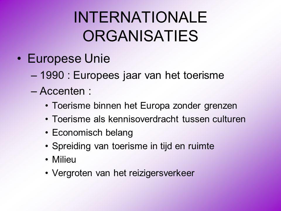 INTERNATIONALE ORGANISATIES •Europese Unie –1990 : Europees jaar van het toerisme –Accenten : •Toerisme binnen het Europa zonder grenzen •Toerisme als