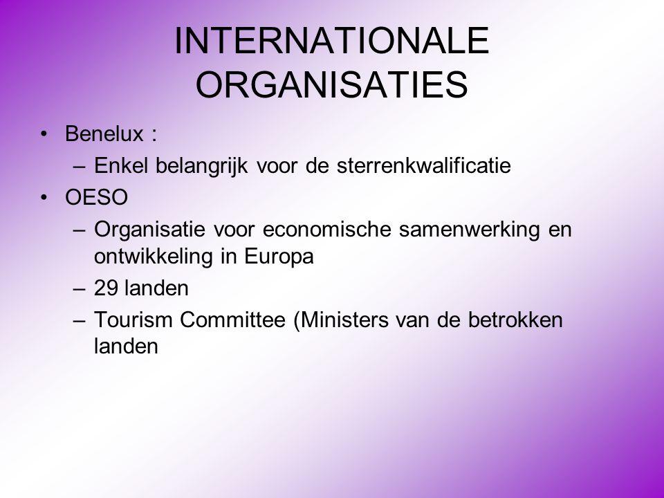 INTERNATIONALE ORGANISATIES •Benelux : –Enkel belangrijk voor de sterrenkwalificatie •OESO –Organisatie voor economische samenwerking en ontwikkeling