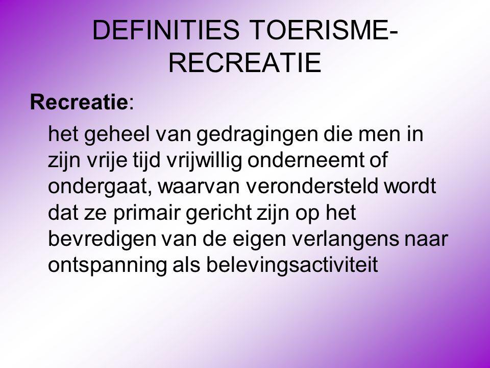 DEFINITIES TOERISME- RECREATIE Recreatie: het geheel van gedragingen die men in zijn vrije tijd vrijwillig onderneemt of ondergaat, waarvan veronderst