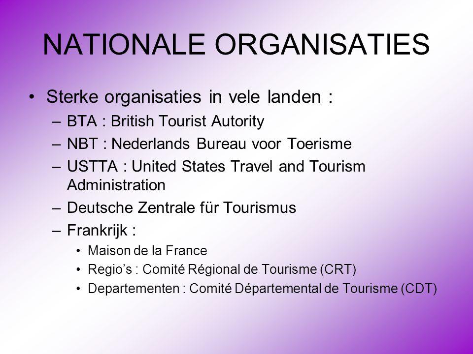 NATIONALE ORGANISATIES •Sterke organisaties in vele landen : –BTA : British Tourist Autority –NBT : Nederlands Bureau voor Toerisme –USTTA : United St