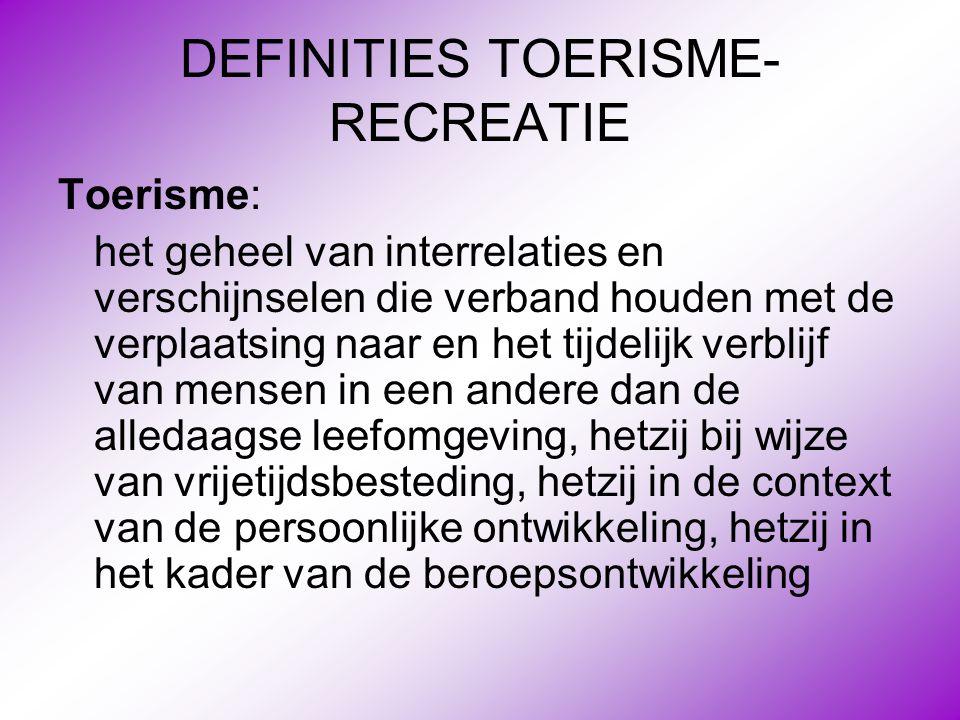 DEFINITIES TOERISME- RECREATIE Toerisme: het geheel van interrelaties en verschijnselen die verband houden met de verplaatsing naar en het tijdelijk v