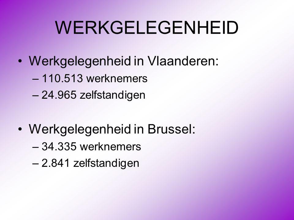 WERKGELEGENHEID •Werkgelegenheid in Vlaanderen: –110.513 werknemers –24.965 zelfstandigen •Werkgelegenheid in Brussel: –34.335 werknemers –2.841 zelfs