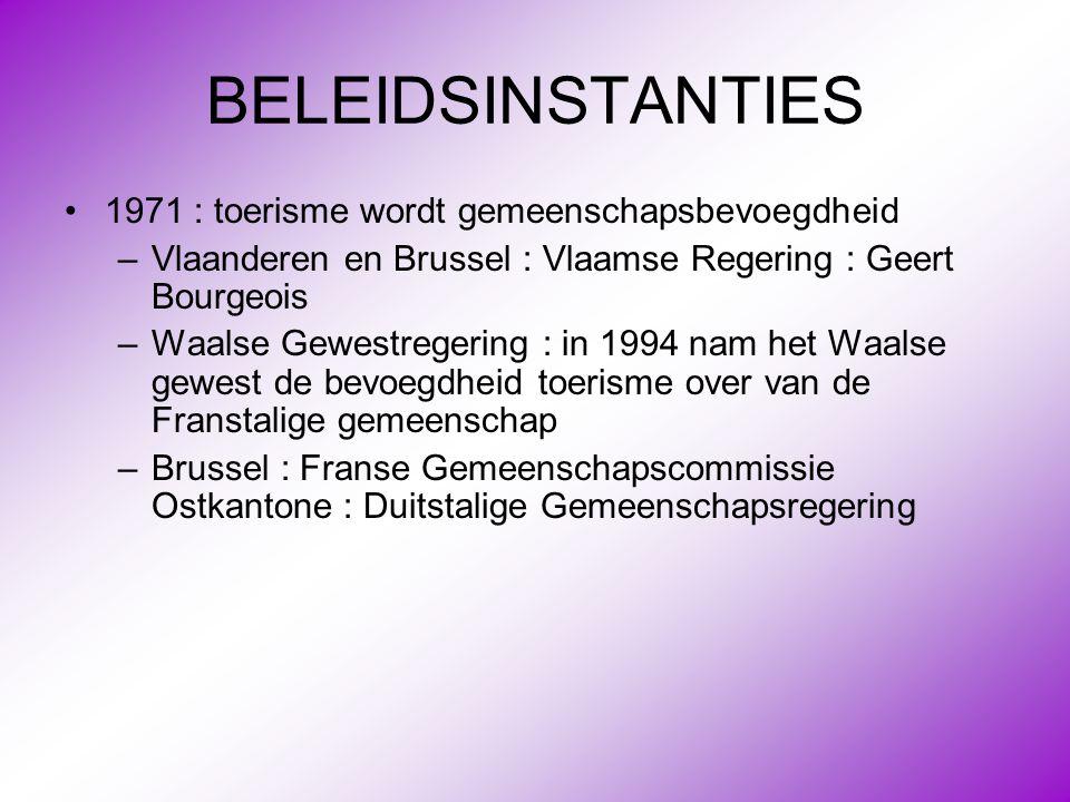 BELEIDSINSTANTIES •1971 : toerisme wordt gemeenschapsbevoegdheid –Vlaanderen en Brussel : Vlaamse Regering : Geert Bourgeois –Waalse Gewestregering :