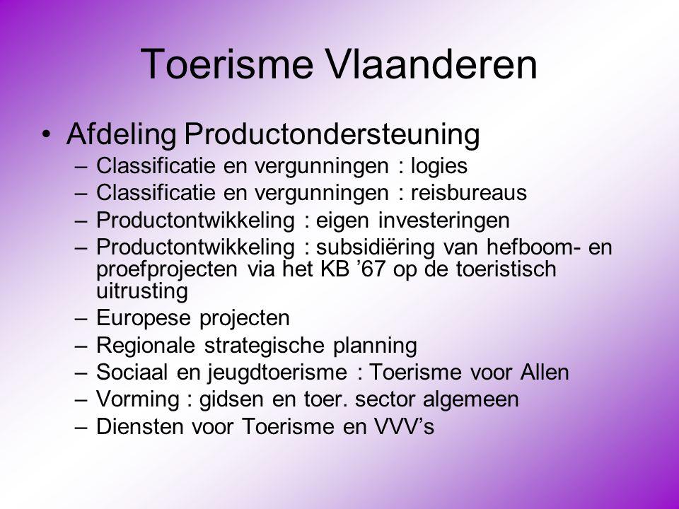 Toerisme Vlaanderen •Afdeling Productondersteuning –Classificatie en vergunningen : logies –Classificatie en vergunningen : reisbureaus –Productontwik