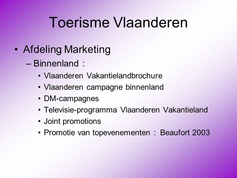 Toerisme Vlaanderen •Afdeling Marketing –Binnenland : •Vlaanderen Vakantielandbrochure •Vlaanderen campagne binnenland •DM-campagnes •Televisie-progra