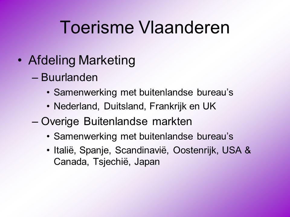 Toerisme Vlaanderen •Afdeling Marketing –Buurlanden •Samenwerking met buitenlandse bureau's •Nederland, Duitsland, Frankrijk en UK –Overige Buitenland
