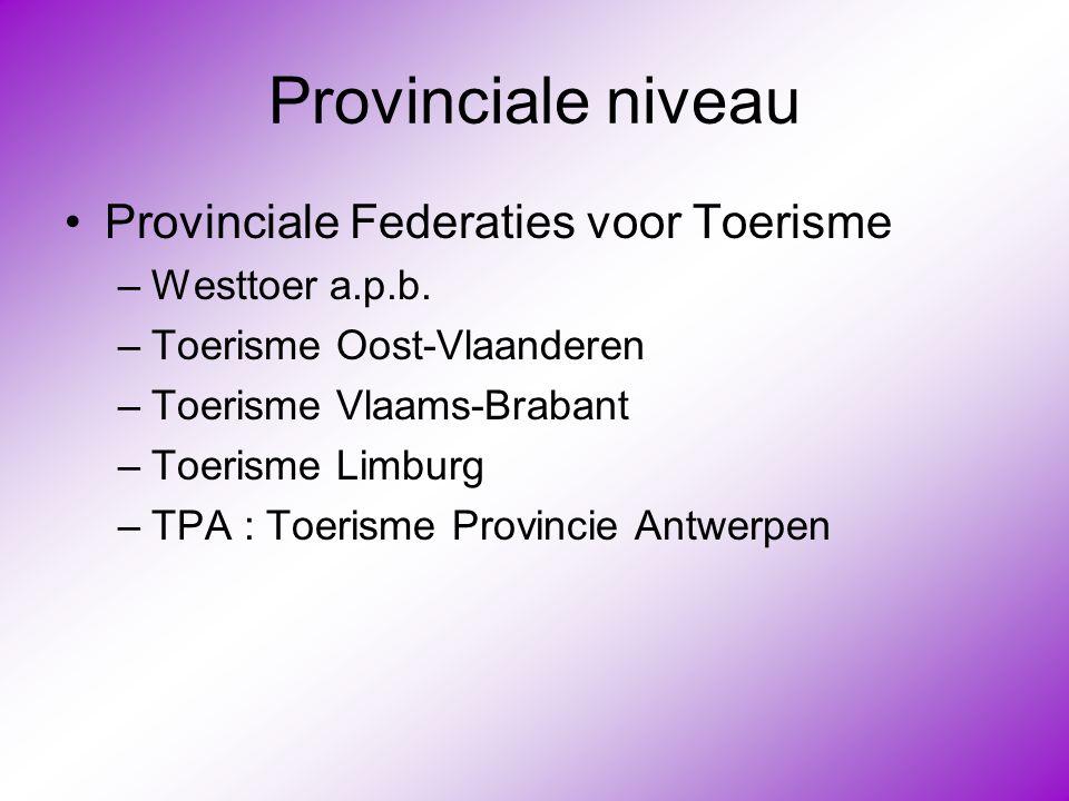 Provinciale niveau •Provinciale Federaties voor Toerisme –Westtoer a.p.b. –Toerisme Oost-Vlaanderen –Toerisme Vlaams-Brabant –Toerisme Limburg –TPA :