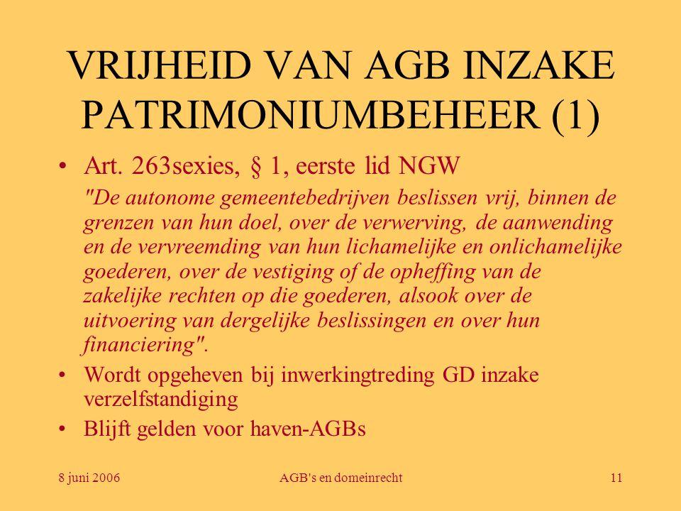 8 juni 2006AGB's en domeinrecht11 VRIJHEID VAN AGB INZAKE PATRIMONIUMBEHEER (1) •Art. 263sexies, § 1, eerste lid NGW