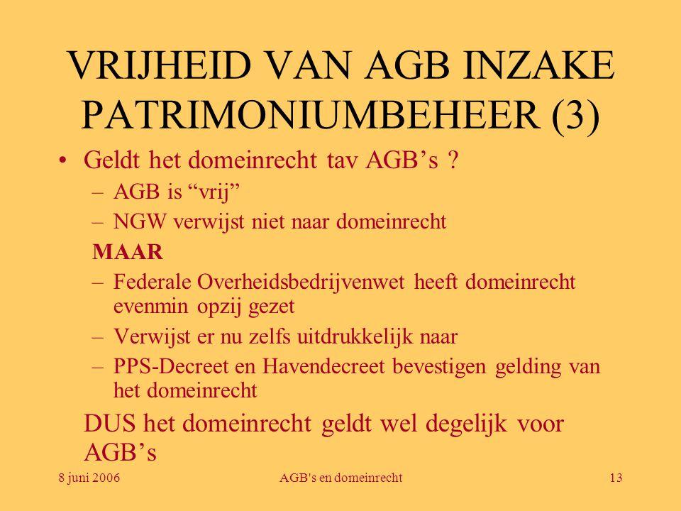 """8 juni 2006AGB's en domeinrecht13 VRIJHEID VAN AGB INZAKE PATRIMONIUMBEHEER (3) •Geldt het domeinrecht tav AGB's ? –AGB is """"vrij"""" –NGW verwijst niet n"""