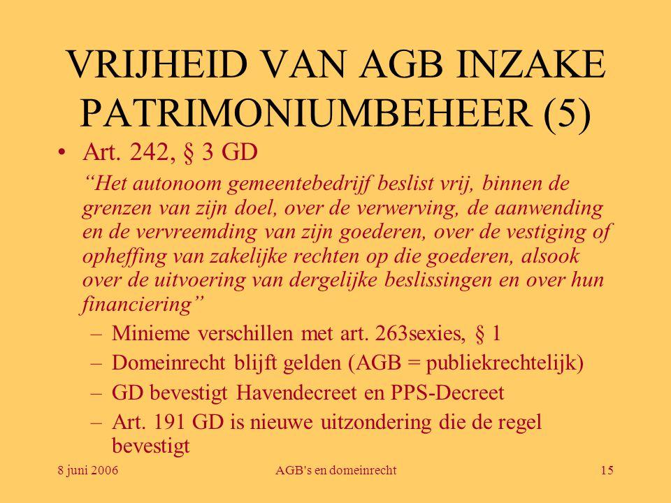 """8 juni 2006AGB's en domeinrecht15 VRIJHEID VAN AGB INZAKE PATRIMONIUMBEHEER (5) •Art. 242, § 3 GD """"Het autonoom gemeentebedrijf beslist vrij, binnen d"""