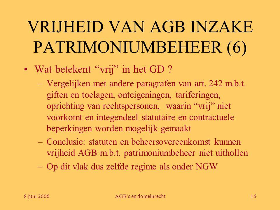"""8 juni 2006AGB's en domeinrecht16 VRIJHEID VAN AGB INZAKE PATRIMONIUMBEHEER (6) •Wat betekent """"vrij"""" in het GD ? –Vergelijken met andere paragrafen va"""