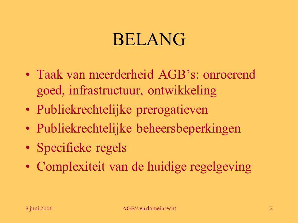 8 juni 2006AGB's en domeinrecht2 BELANG •Taak van meerderheid AGB's: onroerend goed, infrastructuur, ontwikkeling •Publiekrechtelijke prerogatieven •P