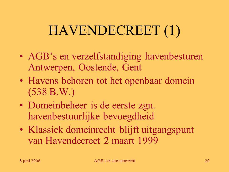 8 juni 2006AGB's en domeinrecht20 HAVENDECREET (1) •AGB's en verzelfstandiging havenbesturen Antwerpen, Oostende, Gent •Havens behoren tot het openbaa