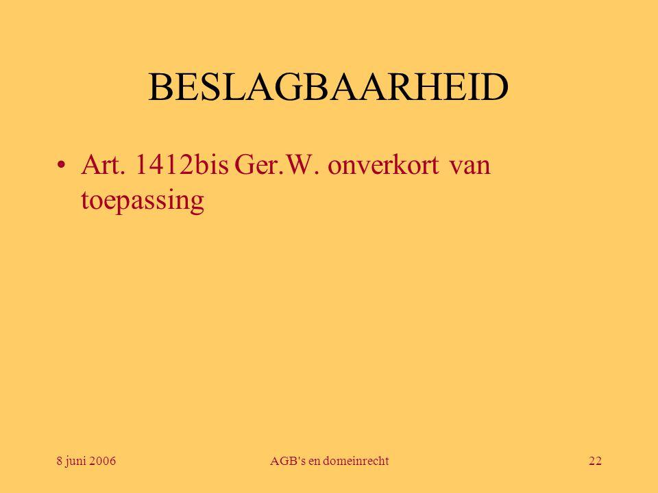 8 juni 2006AGB's en domeinrecht22 BESLAGBAARHEID •Art. 1412bis Ger.W. onverkort van toepassing