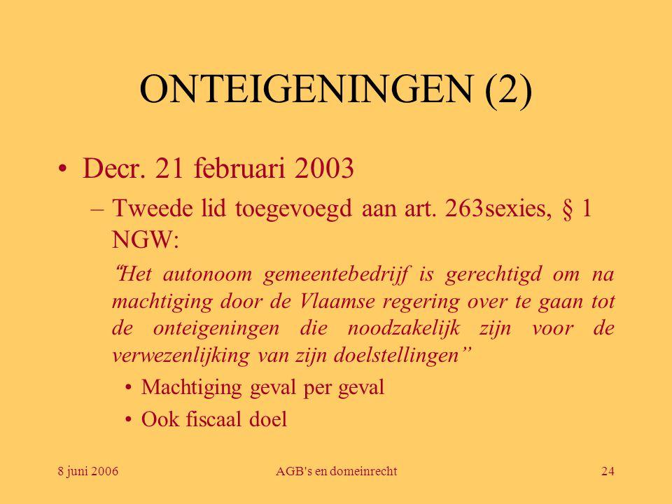"""8 juni 2006AGB's en domeinrecht24 ONTEIGENINGEN (2) •Decr. 21 februari 2003 –Tweede lid toegevoegd aan art. 263sexies, § 1 NGW: """" Het autonoom gemeent"""