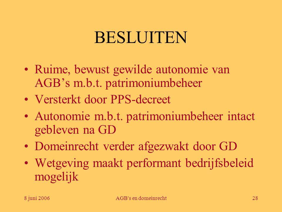 8 juni 2006AGB's en domeinrecht28 BESLUITEN •Ruime, bewust gewilde autonomie van AGB's m.b.t. patrimoniumbeheer •Versterkt door PPS-decreet •Autonomie