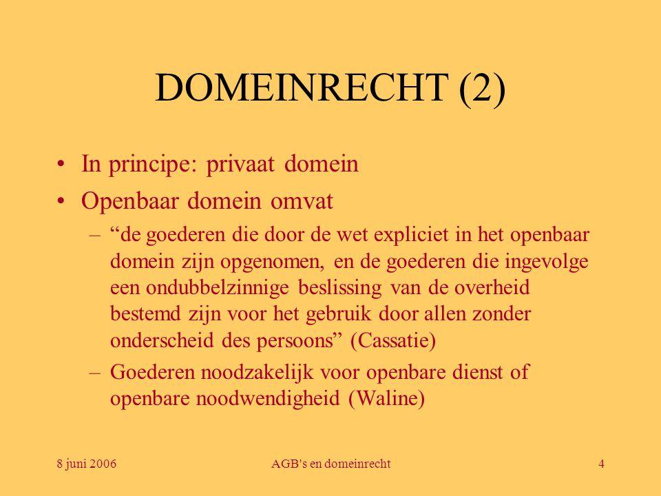 8 juni 2006AGB s en domeinrecht5 DOMEINRECHT (3) •Openbaar domein is onvervreemdbaar en niet vatbaar voor zakelijke rechten, zoals vruchtgebruik, erfpacht- en opstalrechten, erfdienstbaarheden of hypothekering, noch voor verkrijgende verjaring, verhuring of beslag –Domeinconcessies en vergunningen –Voordelen: stok achter de deur + soepelheid + buiten overheidsopdrachtenwetgeving –Nadeel: geen wettelijk vangnet •Privaat domein: burgerlijk recht, maar tot voor wet van 30 juni 1994 onbeslagbaar