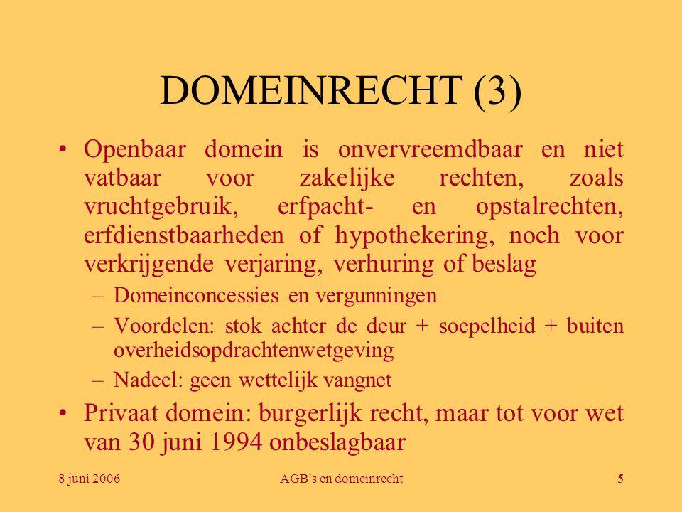 8 juni 2006AGB's en domeinrecht5 DOMEINRECHT (3) •Openbaar domein is onvervreemdbaar en niet vatbaar voor zakelijke rechten, zoals vruchtgebruik, erfp