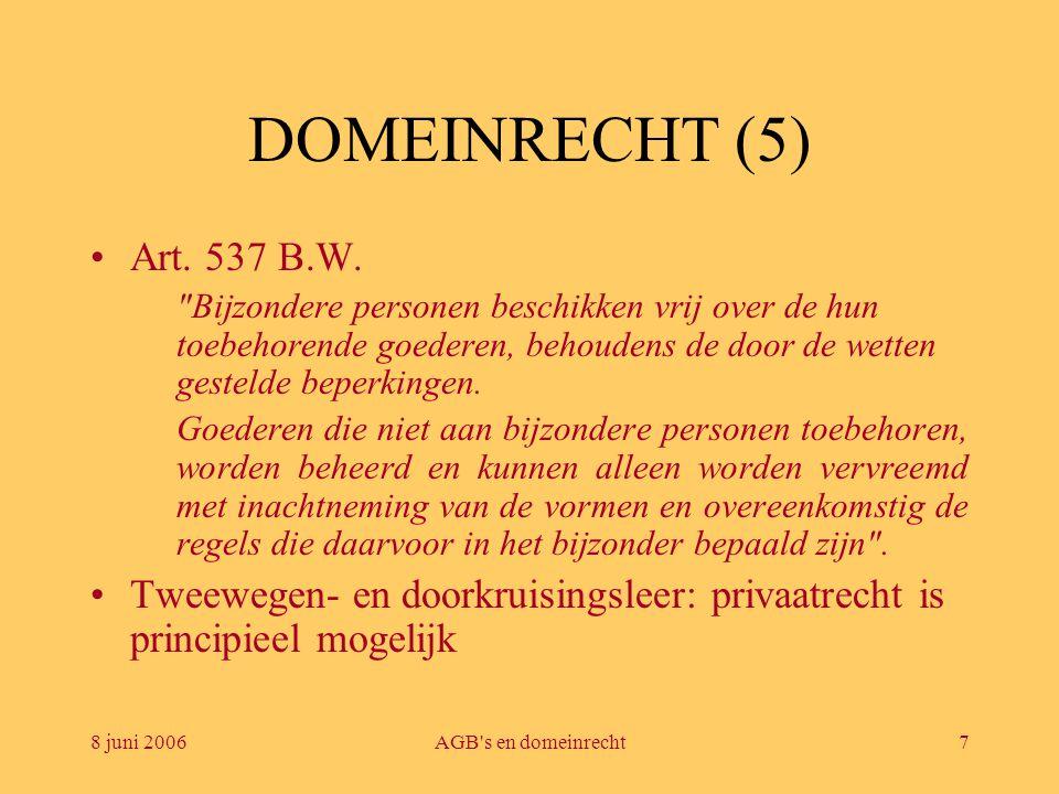 8 juni 2006AGB s en domeinrecht8 DOMEINRECHT (6) •Dus domeinrecht kan soepeler worden opgevat MAAR de wetgever bevestigt de regel met uitzonderingen –1412bis Ger.W.