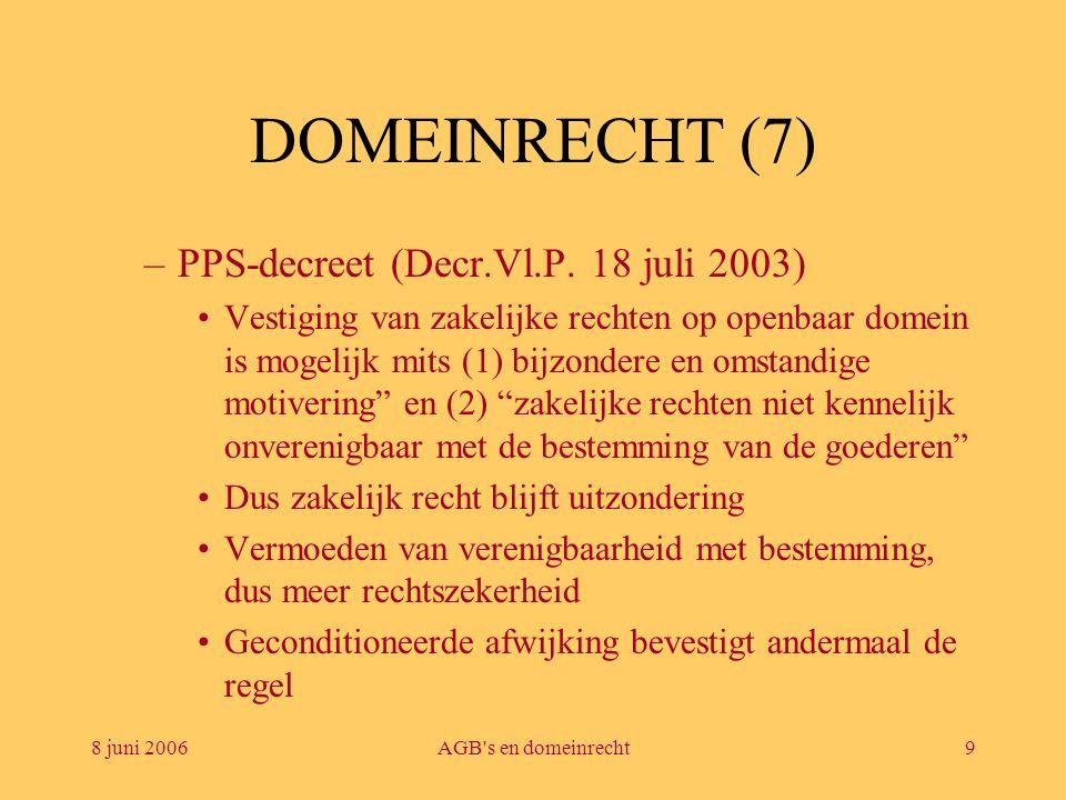 8 juni 2006AGB's en domeinrecht9 DOMEINRECHT (7) –PPS-decreet (Decr.Vl.P. 18 juli 2003) •Vestiging van zakelijke rechten op openbaar domein is mogelij