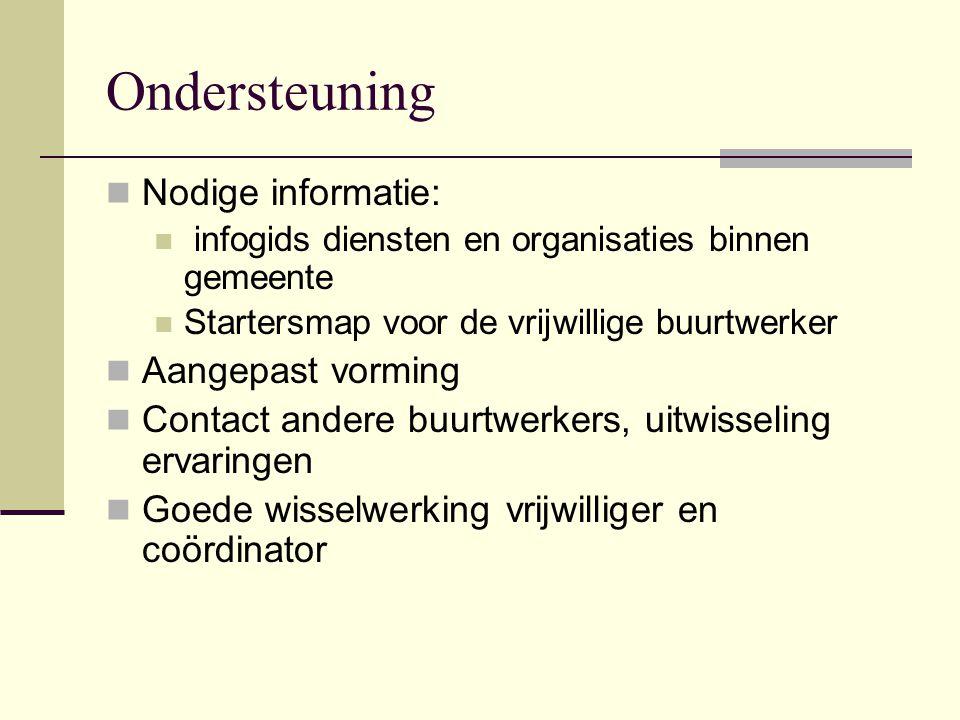 Vergaderingen  Driemaandelijks  Informatieverstrekking  Ervaringuitwisseling  Signalisatie  Deelname is vrijwillig  Kan ook individueel gesprek coördinator hebben