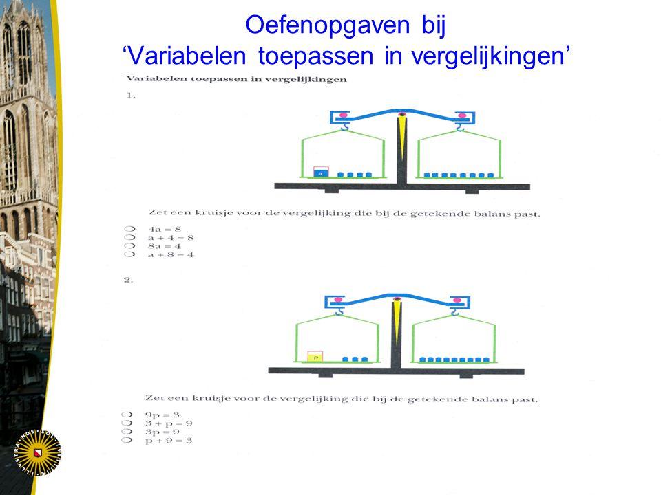Oefenopgaven bij 'Variabelen toepassen in vergelijkingen'