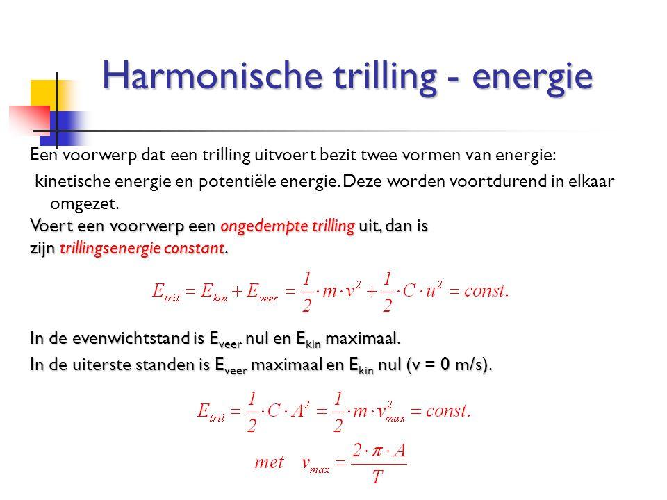 Harmonische trilling - energie Een voorwerp dat een trilling uitvoert bezit twee vormen van energie: kinetische energie en potentiële energie. Deze wo