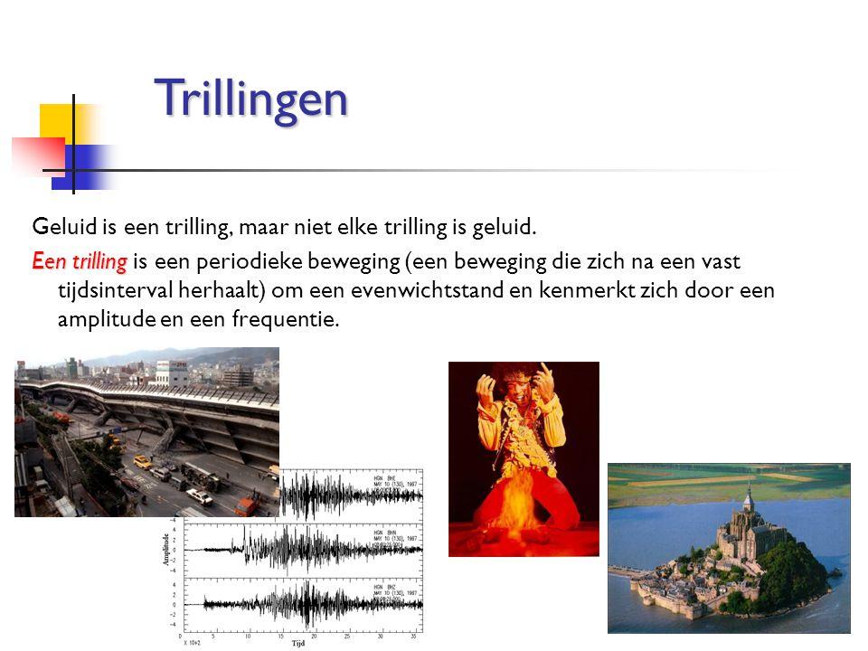 Geluid is een trilling, maar niet elke trilling is geluid. Een trilling Een trilling is een periodieke beweging (een beweging die zich na een vast tij