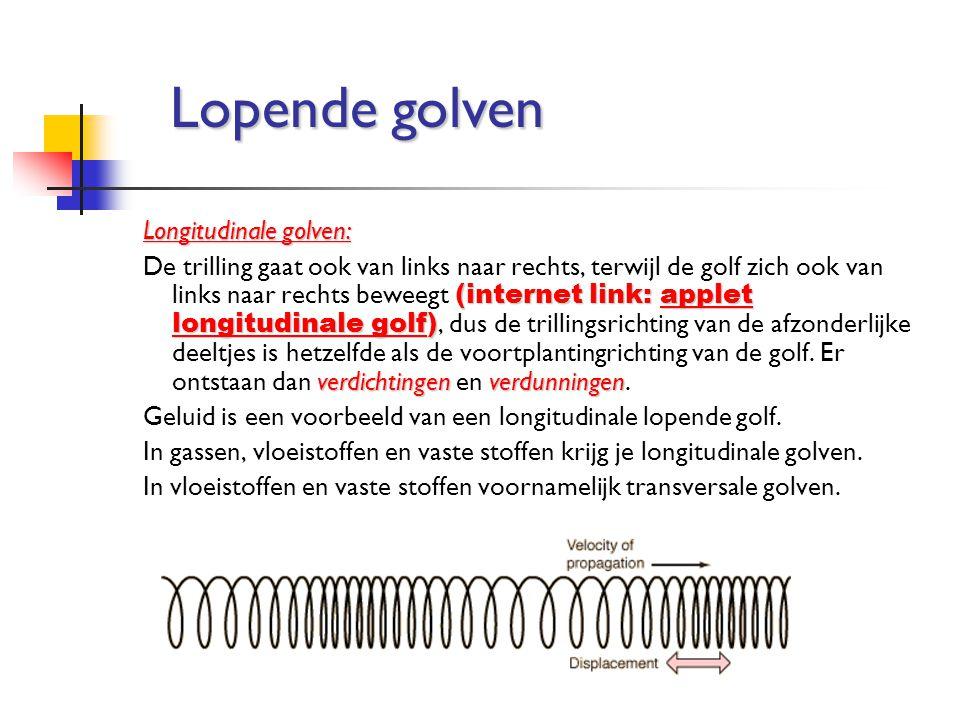 Longitudinale golven: (internet link: applet longitudinale golf) verdichtingenverdunningen De trilling gaat ook van links naar rechts, terwijl de golf