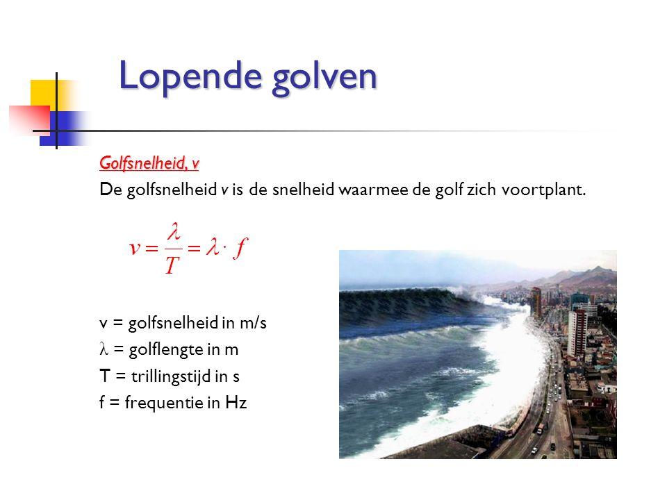 Golfsnelheid, v De golfsnelheid v is de snelheid waarmee de golf zich voortplant. v = golfsnelheid in m/s λ = golflengte in m T = trillingstijd in s f
