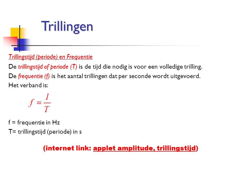 Trillingstijd (periode) en Frequentie trillingstijd of periode (T) De trillingstijd of periode (T) is de tijd die nodig is voor een volledige trilling