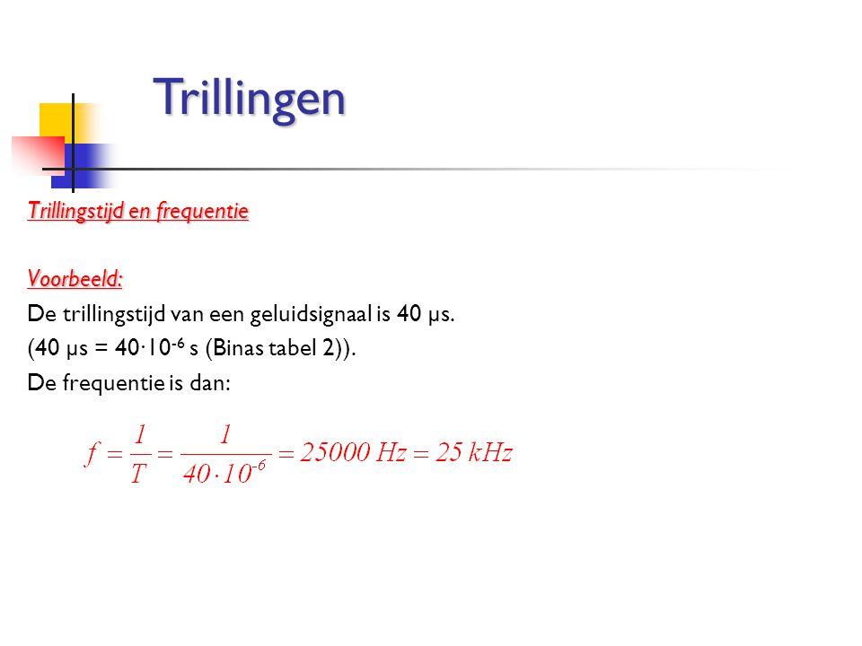 Trillingstijd en frequentie Voorbeeld: De trillingstijd van een geluidsignaal is 40 µs. (40 µs = 40∙10 -6 s (Binas tabel 2)). De frequentie is dan: Tr