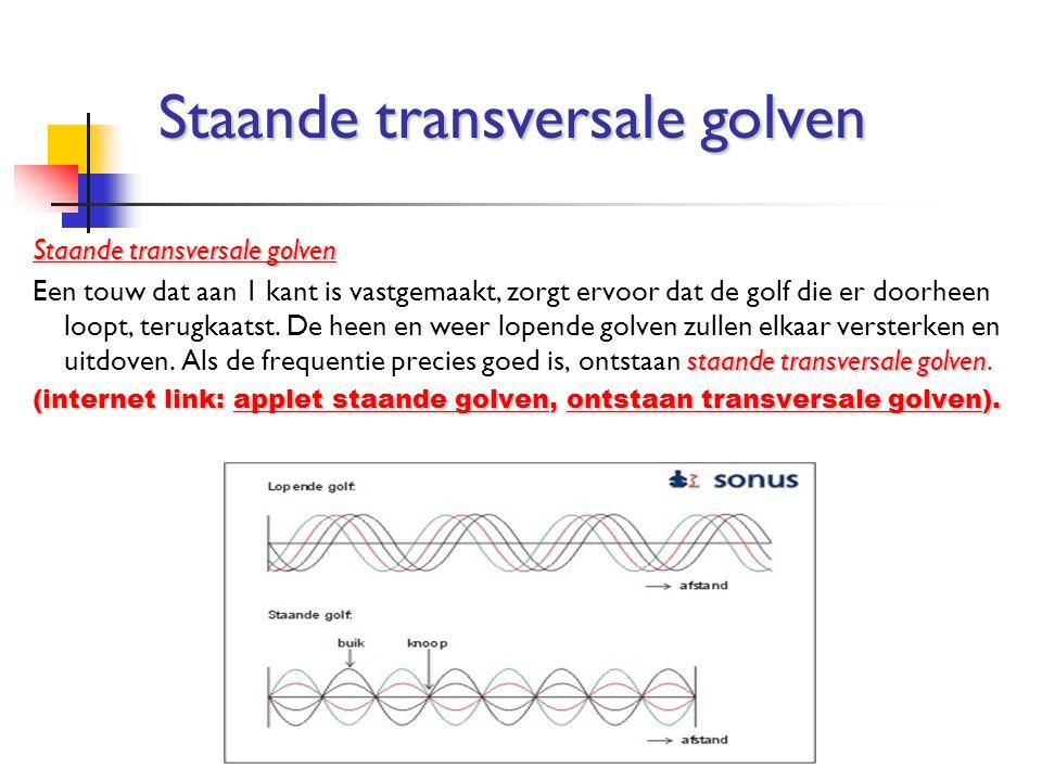 Staande transversale golven staande transversale golven Een touw dat aan 1 kant is vastgemaakt, zorgt ervoor dat de golf die er doorheen loopt, terugk