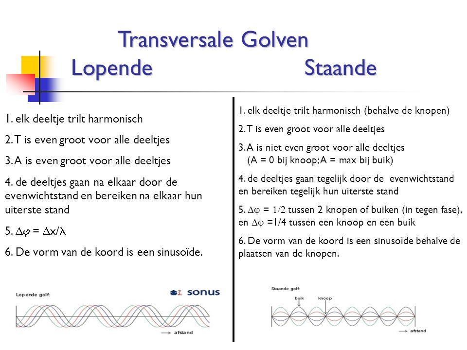 Transversale Golven LopendeStaande 1. elk deeltje trilt harmonisch 2. T is even groot voor alle deeltjes 3. A is even groot voor alle deeltjes 4. de d