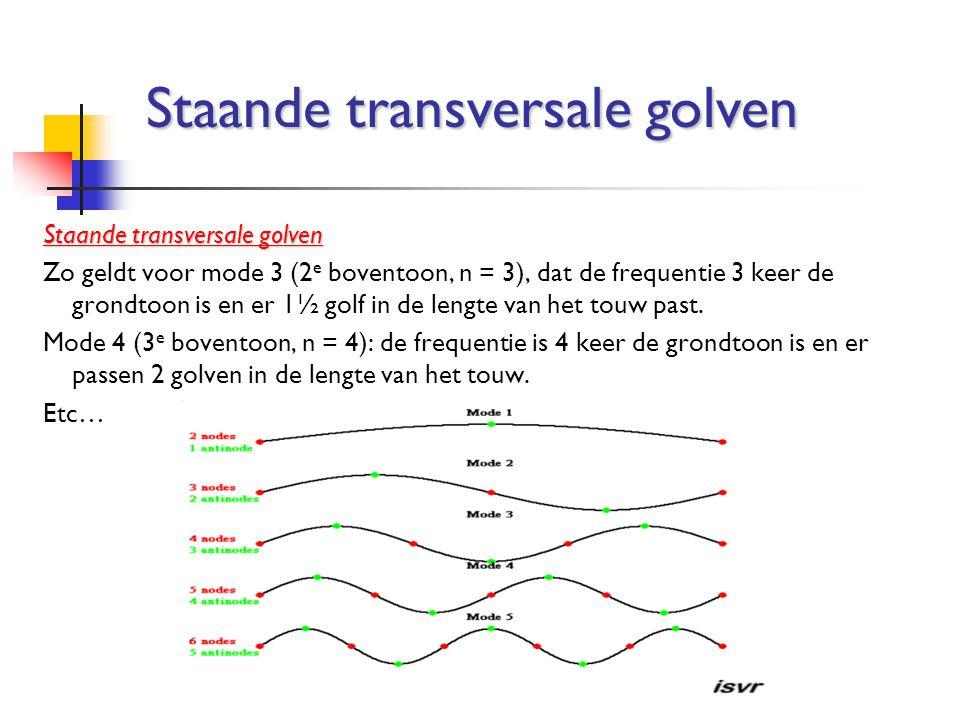 Zo geldt voor mode 3 (2 e boventoon, n = 3), dat de frequentie 3 keer de grondtoon is en er 1½ golf in de lengte van het touw past. Mode 4 (3 e bovent