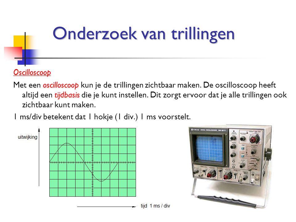 Oscilloscoop oscilloscoop tijdbasis Met een oscilloscoop kun je de trillingen zichtbaar maken. De oscilloscoop heeft altijd een tijdbasis die je kunt