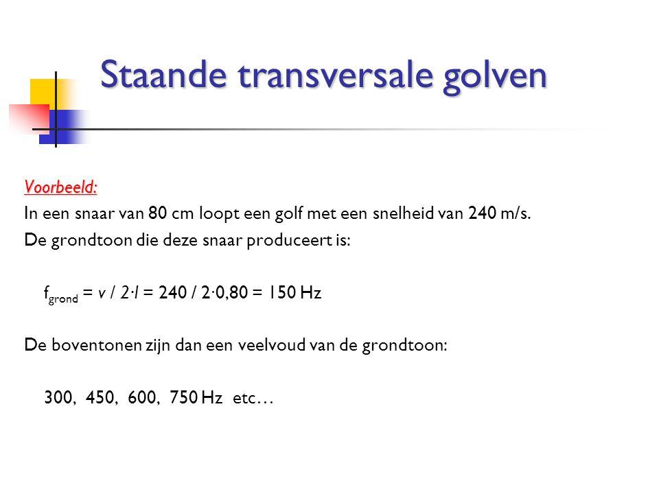 Voorbeeld: In een snaar van 80 cm loopt een golf met een snelheid van 240 m/s. De grondtoon die deze snaar produceert is: f grond = v / 2∙l = 240 / 2∙