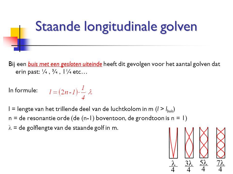 buis met een gesloten uiteinde Bij een buis met een gesloten uiteinde heeft dit gevolgen voor het aantal golven dat erin past: ¼, ¾, 1¼ etc… In formul