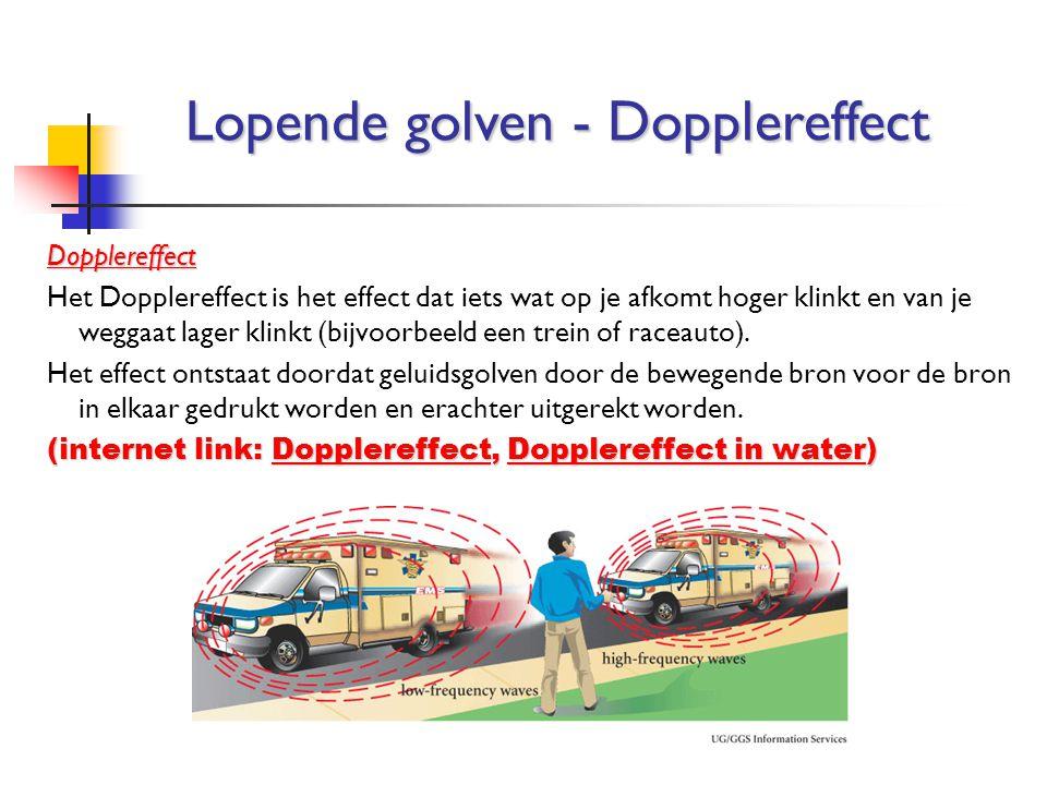 Dopplereffect Het Dopplereffect is het effect dat iets wat op je afkomt hoger klinkt en van je weggaat lager klinkt (bijvoorbeeld een trein of raceaut
