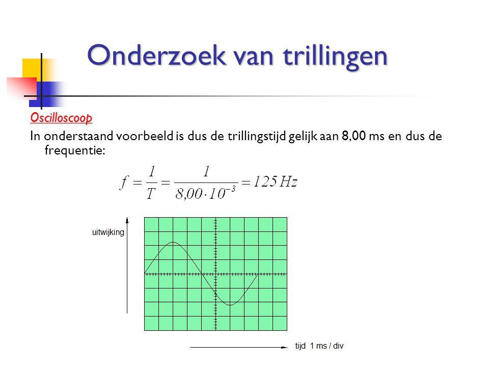 Oscilloscoop In onderstaand voorbeeld is dus de trillingstijd gelijk aan 8,00 ms en dus de frequentie: Onderzoek van trillingen
