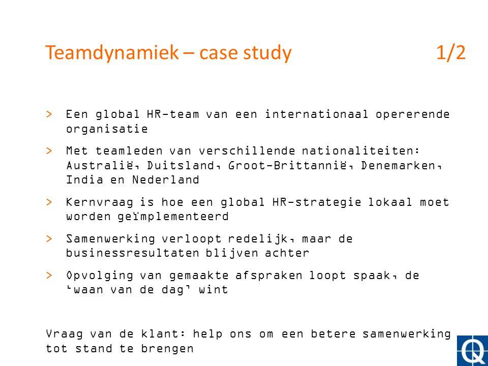 Teamdynamiek – case study1/2 >Een global HR-team van een internationaal opererende organisatie >Met teamleden van verschillende nationaliteiten: Austr